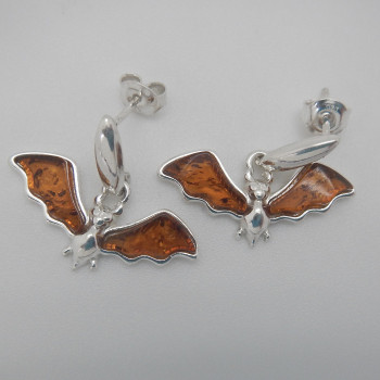 Sterling Silver and Amber Winged Post Earrings - Product Image