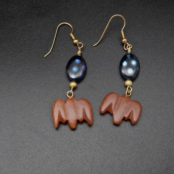 Whimsea By Lo Brown Stone Bat Bead Earrings - Product Image
