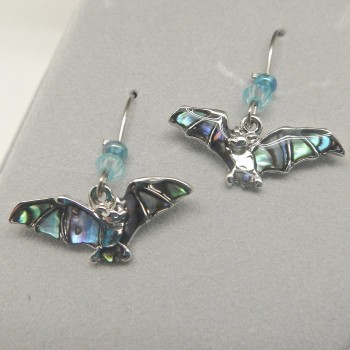 Wild Pearl (Abalone) Flying Bat Earrings or Pendant - Product Image